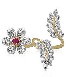 Geode Delight Gold American Diamond Ring For Girls