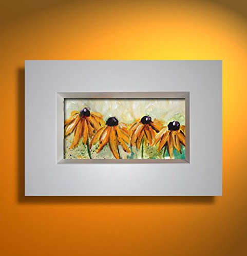 Bild Blumen mit Rahmen modern Malerei Kunst Original Acryl Gemälde ca.33x23 cm (Acryl 33%)