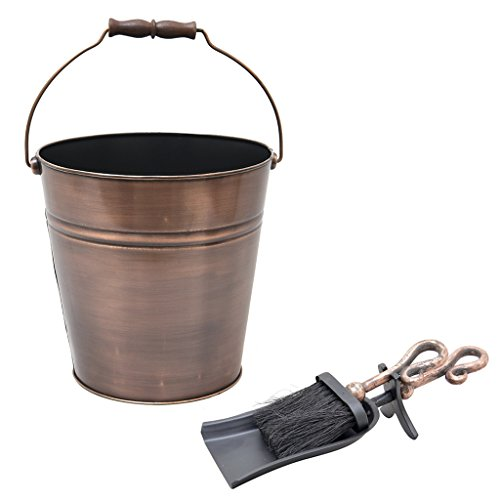 Luxus Kupfer Zünder Country Style-Eimer mit Schaufel und Pinsel, Kupfer Boden - Das ideale Fireside Zubehör für ein Boden oder Kamin, groß