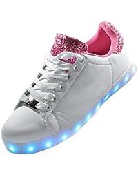 Envio 24 Horas Usay like Zapatillas LED Con Luces Carga USB Blanco/Rosa Niña Chica Mujer Unisex Talla 36 hasta 41 Envio Desde España