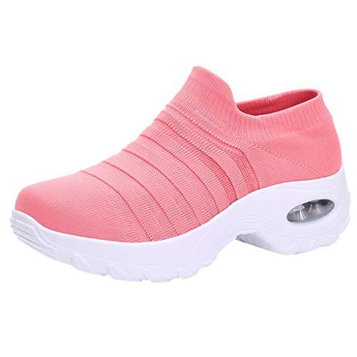 Damen Wanderschuhe Socken Sneakers Plateauschuhe Abriebfeste Mesh Sportschuhe Slip On Turnschuhe Freizeitschuhe Lazy Schuhe, Rosa-2, 36 EU