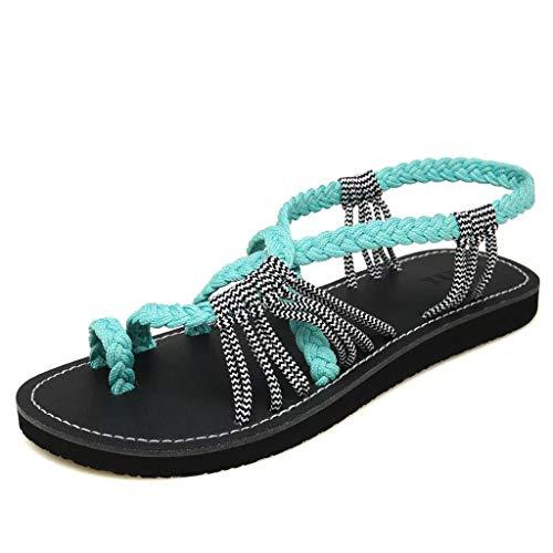 Fuibo Frauen Hanfseil Flip Flops Sandalen Sommer Mode römischen Strand Schuhe Hausschuhe Sandalette Damen Bohemia Knöchelriemchen Flach Sommersandalen (39 EU, Grün)