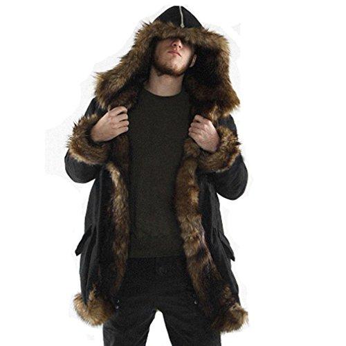 Navidad Abrigo de piel falsa sintética acolchado para hombres con pelo en capucha,Yannerr invierno gruesa caliente largo encapuchados chaqueta sudadera rebeca capa parka outwear cardigan ropa (M)