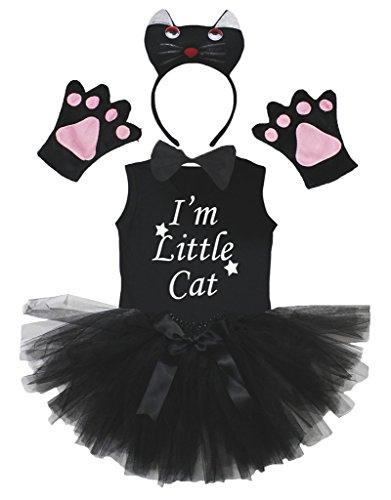 Petitebelle 3D I m Little Cat Black Headband Gloves Tutu Shirt 6pc Girl Costume (3-4 Years)
