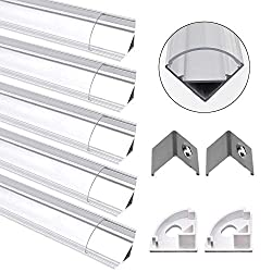 Jirvyuk LED Aluminum Channel Profile V-Shape Transparent 5 Pack 1M/3.3ft Aluminum Extrusion Track with Clear Cover End Caps Metal Mounting Clips for Led Strips Lights(V Shape)