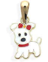 Hund Hündchen Charms Anhänger echt 14 Karat Gold 585 rot/schwarz/weiss emailliert (Art.206040)