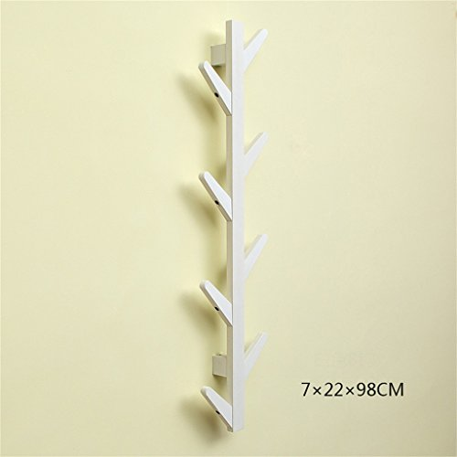 L&y appendiabiti attaccapanni parete di muro da parete del cappotto di legno soggiorno della casa rack di immagazzinaggio della camera da letto decorativa della struttura ( colore : bianca , dimensioni : 7cm*22cm*98cm )
