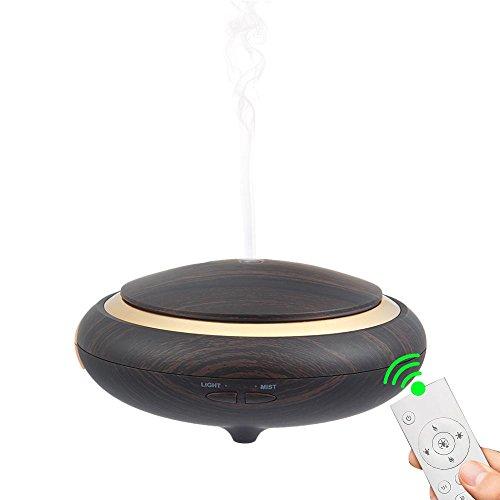 Pawaca Aroma Diffuser Fernbedienung, 150ml Ultraschall ätherische Aromatherapie Duft Luftbefeuchter Humidifier mit LED Farbwechsel, Wasserlos Auto Off, für Haus, Wohnzimmer, Schlafzimmer, Büro (Black Holzmaserung)