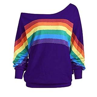 Lazzboy Womens Blouse Sweatshirt Long Sleeve Rainbow Print Off Shoulder Shirt Pullover(3XL(18),Purple)