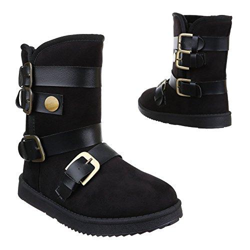 Damen Schuhe, W-28, STIEFELETTEN WARM GEFÜTTERTE BOOTS Schwarz