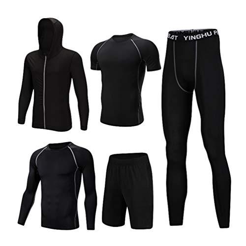 55df9d528c37 Lvguang Uomo 5 Pezzi Completi Sportivi Abbigliamento Giacca con Cappuccio  Manica Corta Manica Lunga Camicie a