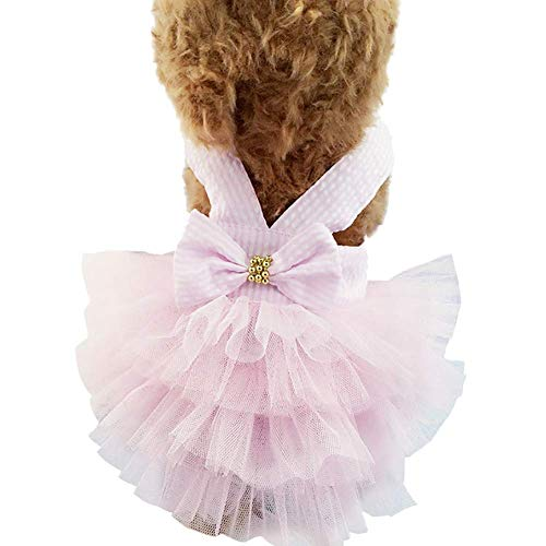Bobopai Dogs Cats Clothes Cotton Dresses Suspender Costumes Big Bowknot Striped Outfits XS-XXL (Pink) -