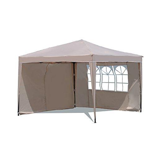 Sekey Garten Pavillon 3 x 3 m Faltpavillon einsetzbar als Gartenpavillon, Party- und Festzelt, Camping- und Festival-Zelt, Gartenmöbel ,Gartenlauben ,Wasserdicht, mit zwei,Seitenwänden,Taupe