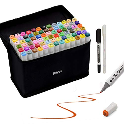 80 Farbige Stift Fettige Mark Farben Marker Set,Twin Tip Textmarker Graffiti Pens für Sketch Marker Stifte Set für Studenten Manga Kunstler Design Schule Drawing Sketch