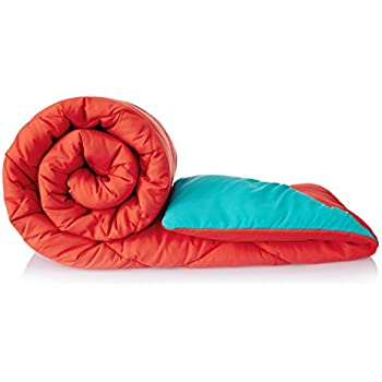 Amazon Brand - Solimo Microfibre Reversible Comforter, Double (Ruby Red & Aqua Blue, 200 GSM)