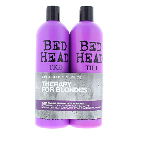 BED HEAD by TIGI Dumb Blonde Tween Duo Repair Shampoo & Reconstructor Conditioner for Coloured Hair - 750 ml (Pack of 2)