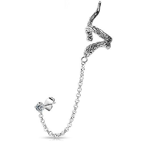 Bungsa® Schlangendesign Ear Cuff Ohrstecker Ohrclip mit Zirkonia silber Edelstahl Snake (Conch Fake Piercing Studs Ohrringe Ohrschmuck Ohrklemmen Damen Frauen Herren Mode) (Snake-ohrring-stud)
