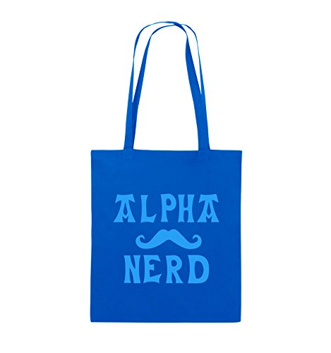 Borse Commedia - Alpha Nerd - Baffi - Iuta - Lungo Manico - 38x42cm - Colore: Nero / Argento / Blu Reale Blu