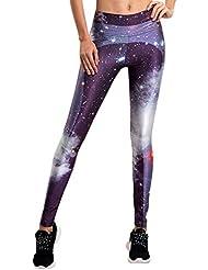 Leggings Leggins de Estampados Pantalones Elásticos Deportivos Para Mujer Morado S