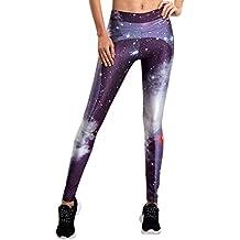 Leggings Leggins de Estampados Pantalones Elásticos Deportivos Para Mujer Morado XL