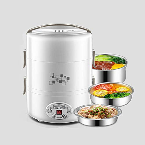 KAR 220V Multi-Funktions-Reis-Lunch Box, 3-Schicht-2L-Nahrungsmittelbehälter Edelstahl Beschichtete Reiskocher Insulated Lebensmittel Heizung Insulated Bento Box