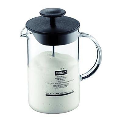 BODUM 1446-01 Latteo Milk Frother, Borosilicate Glass - 0.25 L, Black/Transparent