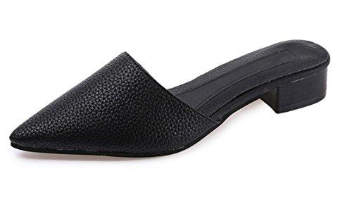 Spitz Frauen Baotou Sandalen dick mit niedrigen Absätzen Sommer Sandalen und Pantoffeln Frauensandelholzen Frauen Retro Black