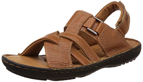 Redchief Men's Elephant Tan Leather Sandals and Floaters - 7 UK/India (40.5 EU)(RC1683 107)