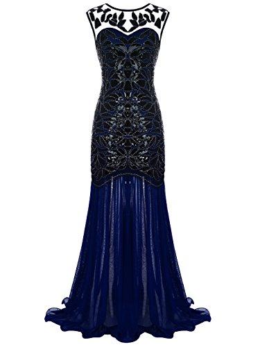 denlänge V-Rücken Pailletten verschönert Abschlussball Abend Kleid D20S004(S,Marineblau) (1920 S Kleider)