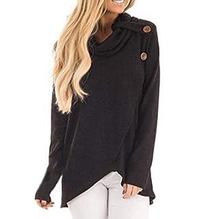 Lazzboy Womens Blouse Long Sleeve Turtleneck Solid Irregular Tunic Sweatshirt Pullover Tops(XL(14),Black)