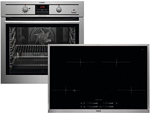 Preisvergleich Produktbild AEG PSP35586 Set Pyrolyse PlusSteam Backofen BP3003501M + Induktion Glaskeramik Kochfeld HKM85411X-B
