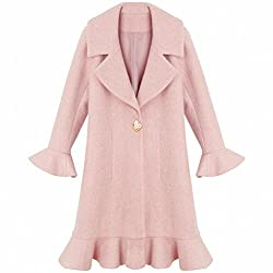 MO Trumpet Sleeves Lotus Leaf Coat Jacket Female Long Section of Autumn and Winter Loose Coat Student Windbreaker by MO