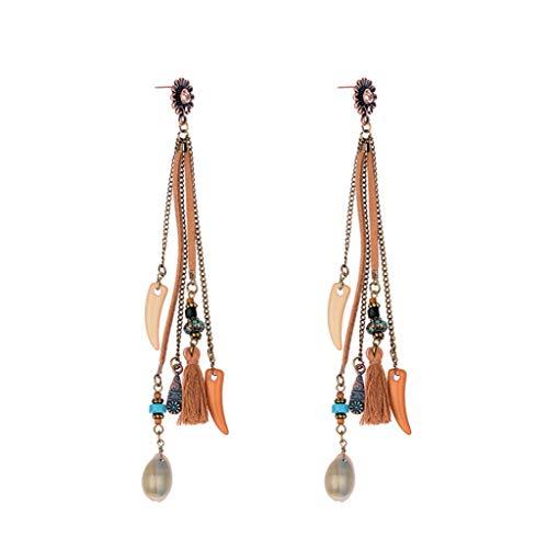 4 - T.Hoow - Pendientes largos de estilo bohemio con flecos para mujer, diseño de cuerno y flores