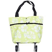 BESTOMZ Shopping bag pieghevole pieghevole con ruote Carrello spesa trolley  Borse pieghevoli Carrello spesa Borsa da f0ff122e1e7