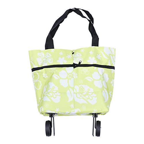 BESTOMZ Zusammenklappbare Einkaufstasche mit Rädern Einkaufstrolley Trolley Taschen Faltbare Warenkorb fahrbare Einkaufstasche Reisetasche (grüne Blätter)
