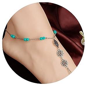 Beydodo Versilbert Damen Fußkette Boho mit Chinesischer Knoten Herz Stand Fuß Kette Silber