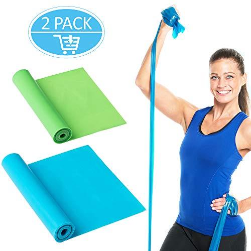 Omew Fitnessbänder, 2 Stück 1,5m Länge Elastisch Gymnastikband Übungsbänder Fitness Bänder Ideal für Muskelaufbau