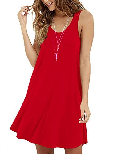 Ihr Rotes Kleid (LILBETTER Frauen Ärmelloses Casual Loose Fit T-Shirt Tunika Kleid Swing Kleid Rot S(EU 34-36))