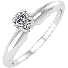Anillo de compromiso solitario IGI certificado 14 K oro banda de diamante (1/4