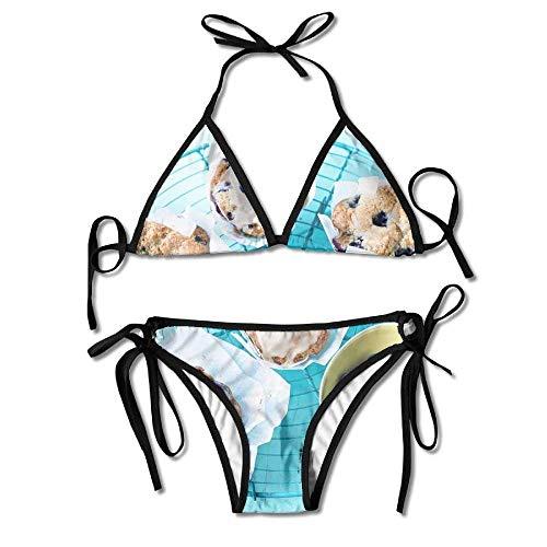 KLYDH Bikini Swimwear Maple Glazed Blueberry Muffins Women's Sexy Bikini Set Swimsuit Bathing Suit Triangle Swimwear Sexy Blueberry Muffin