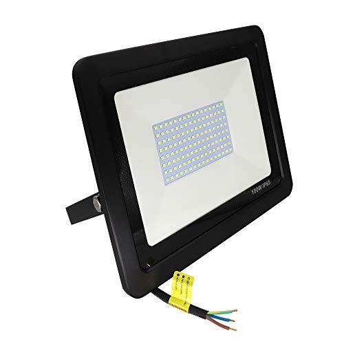 POPP® Exterior Floodlight Led Foco 100w Proyector Led para Exterior Iluminación Decoración 6000k IP65 Negro [Clase de eficiencia energética A++] [PY005]