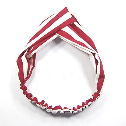 Xinjiener Damen Kopfband Rot gestreiftes Haarband Damen Cross Elastic Stretch Haarschmuck Sport Yoga Tiara Stirnband (Farbe : Red, Größe : 23cm)