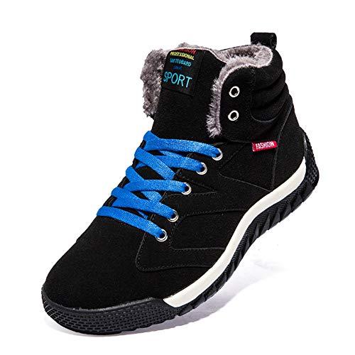 Bottes Hiver Homme, Manadlian Chaussures Trekking Randonnée Bottes de Neige Imperméable Outdoor Baskets en Daim Lacets Chaussures Fourrure Sneakers 39-46