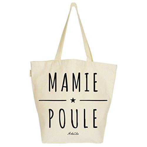 Grand Sac Cabas Fourre-tout Imprimé Toile Bio 37x45x20cm Tote Bag XL - Mamie Poule