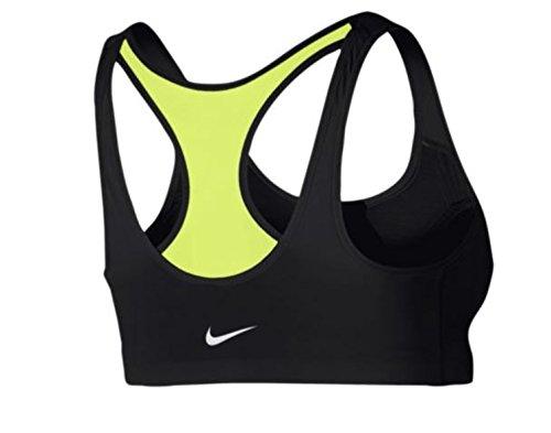 Nike Damen Shape Zip Bra Sport-Bh mit Mittlerem Halt Schwarz/Volt gelb/Weiß