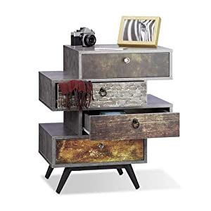 Relaxdays Vintage Kommode 4 Schubladen, originelles Lowboard in Betonoptik, Schublade mit Motiv, HBT: 68x60x40 cm, grau
