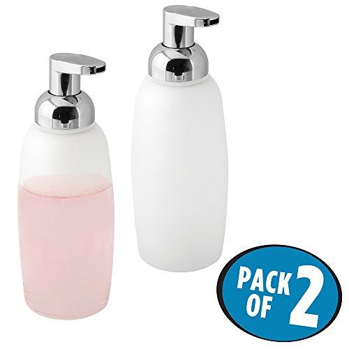 Küche Spüle Soap-pumpe Für (mDesign 2er-Set Schaumseifenspender – wiederbefüllbarer Pumpseifenspender aus Glas – Schaumspender für Bad & Küche – weiß/silber)