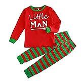 Hzjundasi Assorti Famille Ensemble Pyjama - L'automne Hiver Noël des Lettres Imprimé Vêtements Famille Pyjamas Suit, Rouge/Vert