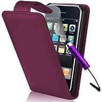 Supergets® Hülle für Apple iPhone 3G 3GS Imitat Leder Handytasche Hülle Schale in Lila, Mini Eingabestift, Schutzfolie, Zubehör Set