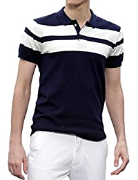 Scatchite Men's Matte Half Sleeve Navy Blue with White Contrast Striped Polo T-Shirt